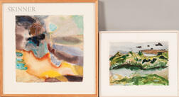 Lois Gross Smiley (American, 1923-2019)      Two Framed Works on Paper: Untitled Abstract