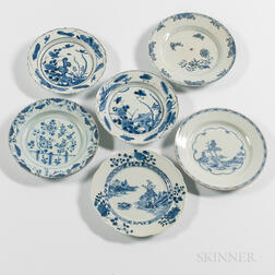 Six Blue and White Export Porcelain Plates