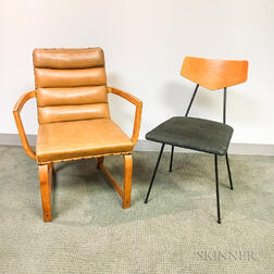 Two Mid-Century Modern Upholstered Chairs.
