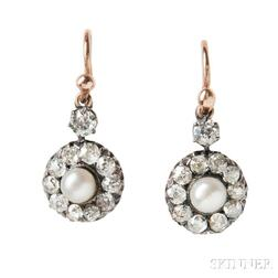 Antique Gold, Pearl, and Diamond Earrings