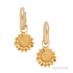 18kt Gold Sunflower Pendant Drops, Asprey