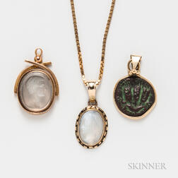 18kt Gold and Carved Moonstone Pendant and Chain, Carved Moonstone Intaglio Pendant, and an Ancient Coin Pendant