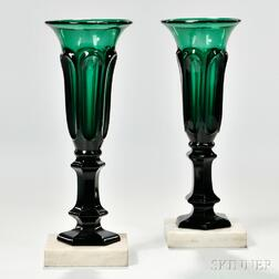 Pair of Emerald Green Pressed Loop Pattern Vases