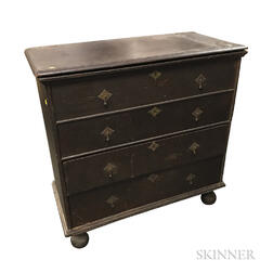 William and Mary Brown-painted Pine Two-drawer Blanket Chest