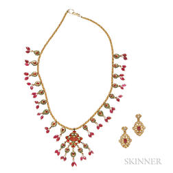 Gold, Diamond, Ruby, and Enamel Necklace and Earclips