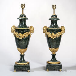 Pair of Gilt-bronze-mounted Marble Table Lamps