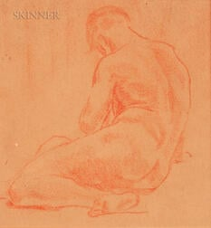 American/European School, 20th Century      Sketch of a Male Nude