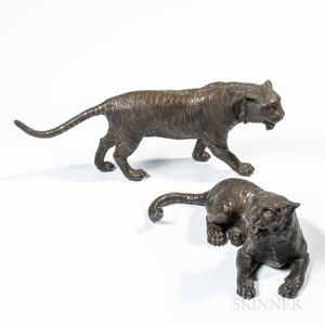Two Cast Bronze Tigers
