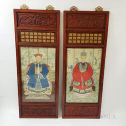 Pair of Ancestral Portraits Framed in Carved Wood Panels