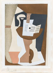 After Pablo Picasso (Spanish, 1881-1973)      Guitare et partition sur guéridon