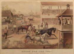 "Currier & Ives, publishers, (American, 1857-1907)  READY FOR THE TROT:  ""BRING UP YOUR HORSES."""
