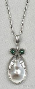 .830 Silver, Blister Pearl, and Green Onyx Pendant, Georg Jensen