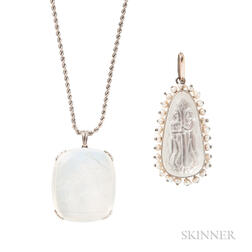 Two Moonstone Pendants