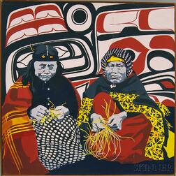 American School, 20th Century      Portrait of Two Elders, Probably American Indians of the Pacific Northwest.