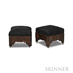 Pair of Late Classical Mahogany Veneer Ottomans
