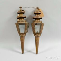 Pair of Molded Sheet Metal Lanterns