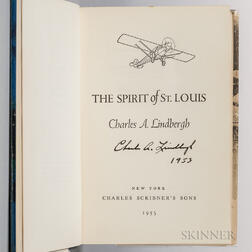 Lindbergh, Charles (1902-1974) Spirit of St. Louis,   Signed Copy.