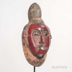 Baule-style Carved and Painted Wood Mask