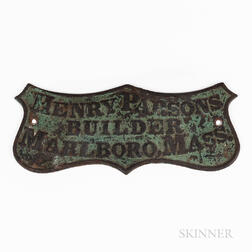 """Green-painted Cast Iron """"Henry Parsons Builder"""" Plaque"""