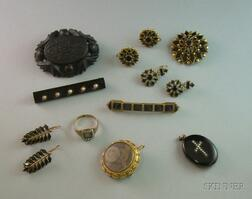 Small Group of Assorted Mourning and Memento Jewelry