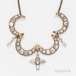 Antique 9kt Gold and Moonstone Crescent Necklace