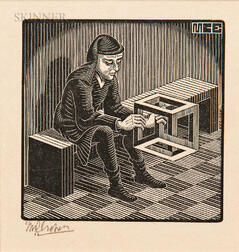 M.C. Escher (Dutch 1898-1972)      Man with Cuboid
