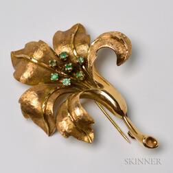 14kt Gold and Emerald Flower Brooch
