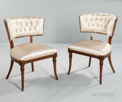 Pair of Art Moderne Klismos-style Side Chairs