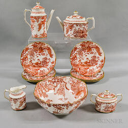 "Thirteen Royal Crown Derby ""Red Aves"" Porcelain Tableware Items"