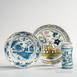 Two Delft Plates and a Vase