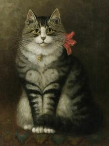 Percy Sanborn (American, 1849-1929)  Gray Tiger Cat with a Red Bow