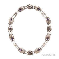 Sterling Silver and Amethyst Necklace and Brooch, Georg Jensen