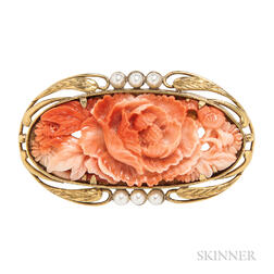 Arts and Crafts Gold and Coral Brooch, Frank Gardner Hale