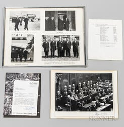 Ray D'Addario Signed Nurnberg Trial Photograph with Accompanying Letter and Framed Photographs of British Dignitaries