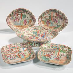 Five Rose Mandarin Export Porcelain Serving Dishes
