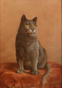 American School, 19th/20th Century  A Gray Cat on an Orange Cushion