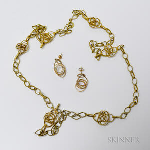 14kt Gold Necklace and Earrings