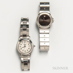 Two Movado Stainless Steel Lady's Wristwatches