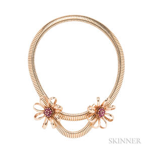 Retro 14kt Gold and Ruby Necklace and Earclips