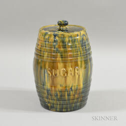 Tortoiseshell-glazed Earthenware Barrel-form Covered Sugar