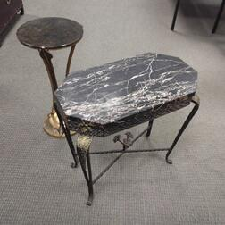 Two Hollywood Regency-style Stone-top Side Tables