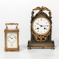 Gilt-brass Carriage Clock and Patinated- and Gilt-brass Shelf Clock