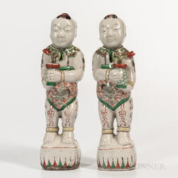 Pair of Famille Verte Figures of Boys