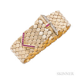 Retro 14kt Gold, Ruby, and Diamond Buckle Bracelet