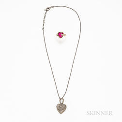 Sterling Silver and Rose-cut Diamond Heart Pendant and a 10kt Gold, Synthetic Red Stone, and Diamond Arrow and Heart Ring