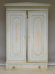 Blue-painted and Decorated Two-door Wooden Wardrobe Cabinet