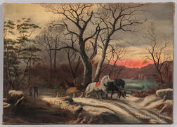 American School, 19th Century      Returning from the Hunt at Sunset