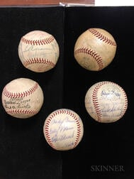 Five Red Sox Signed Baseballs