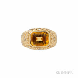 14kt Gold, Citrine, and Diamond Ring