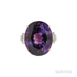 18kt Gold, Amethyst, and Diamond Ring